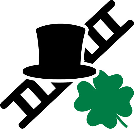 Chimney sweeper hat ladder and lucky shamrock Illustration