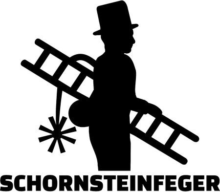 Schoorsteenveger met Duitse functie Stock Illustratie