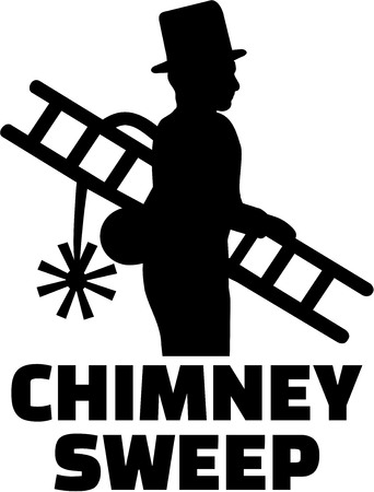 Chimney sweep silhouette with job title Ilustracja