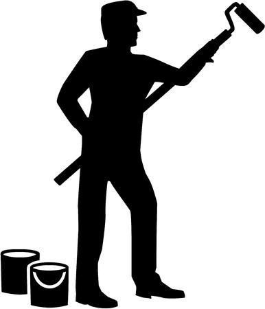 Painter silhouette with roller and paint buckets