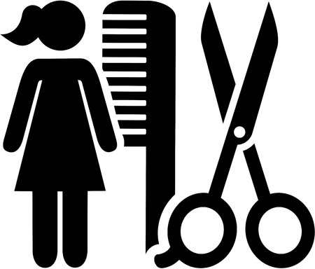 Female hairdresser icon with scissor and comb Vektorové ilustrace