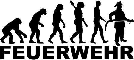Evolution du pompier avec titre allemand