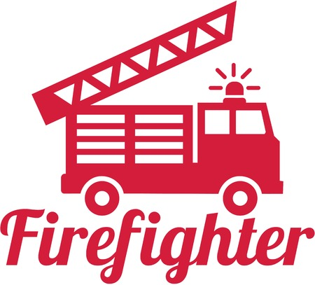 fireman: Firefighter word with fire engine