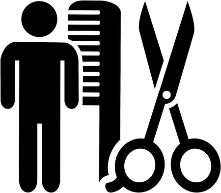 Male hairdresser icon with scissor and comb