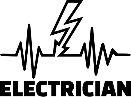 Electrician heartbeat line with bolt