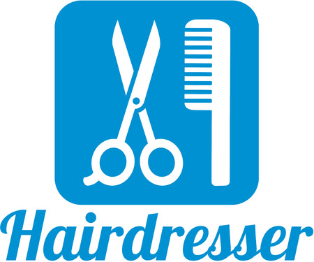haircutter: Hairdresser icon with scissor and comb