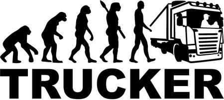 Trucker evolution with job title Illustration