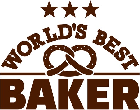 Worlds best baker with pretzel Illustration