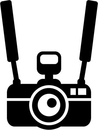 Camera with strap hanging around neck