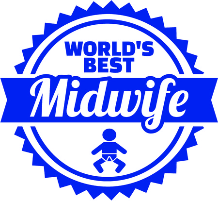 Emblem for worlds best midwife with baby Ilustracja