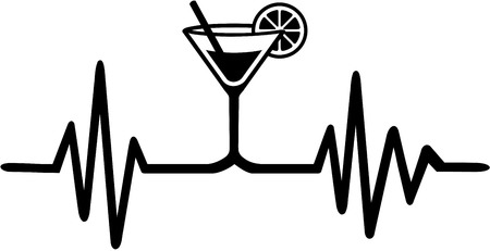 Heartbeat pulse with drink from bartender