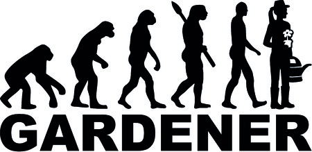 Evolution of a female gardener with watering can