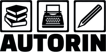Icons for writer with books, typewriter and pencil and female german job title