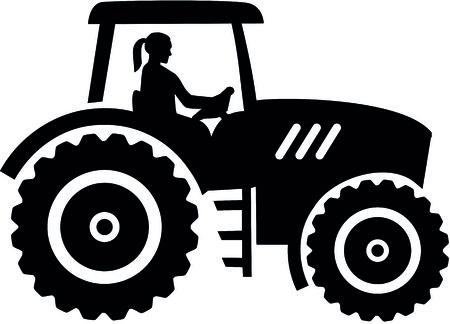 Farmer tractor with female farmer