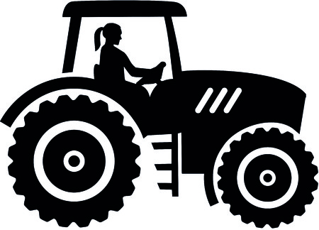 Farmer tractor with female farmer