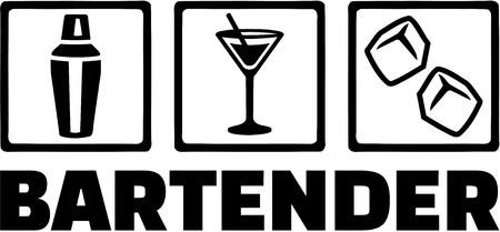Icons for bartender with job title