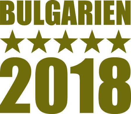German word for Bulgaria with number 2018 and golden stars