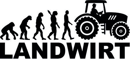 Die Evolution eines Landwirts mit Traktor Standard-Bild - 93118245