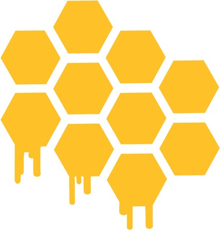 Bee melting honeycomb with honey in a hexagon