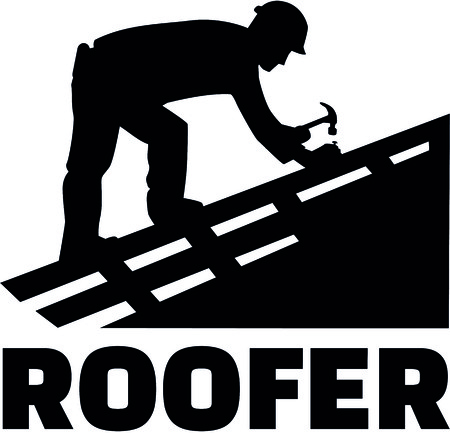 Roofer working on top of a roof with job title