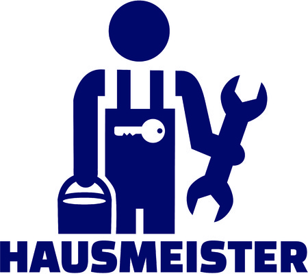 Janitor pictogram with german job title and tools Illustration
