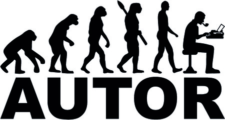 Evolution of a male author with typewriter and german word for author