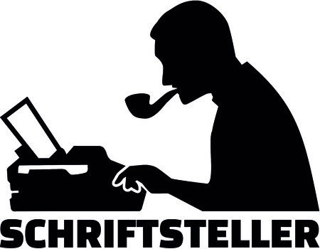 Silhouette of a male writer with typewriter and German job title.