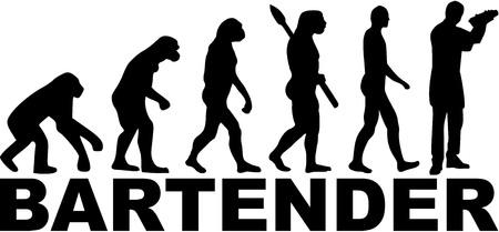Evolution of a bartender with shaker illustration.