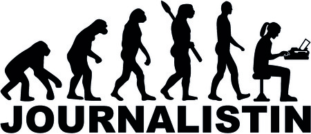 Evolution of a female journalist with typewriter and job title. Illustration