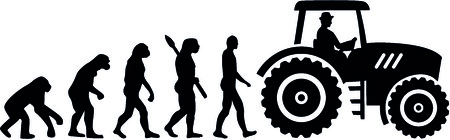 Evolution of a farmer with tractor illustration.