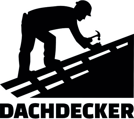 Roofer working on top of a roof with german job title.