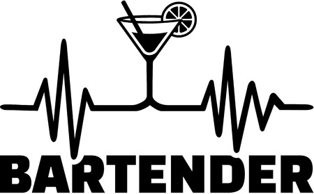 Bartender with heartbeat line drink