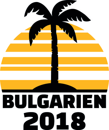 German word for Bulgaria with number 2018, sunset and palm tree.