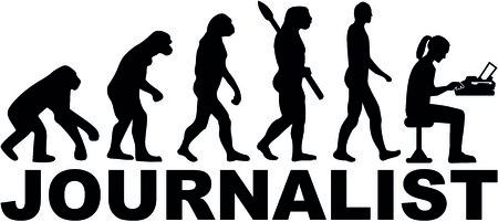 タイプライターと役職を持つ女性ジャーナリストの進化。  イラスト・ベクター素材