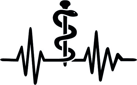 Pharmacist heartbeat pulse with staff of Aesculapius. Illustration