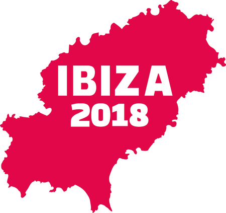 Ibiza 2018 with country frontier illustration. Иллюстрация