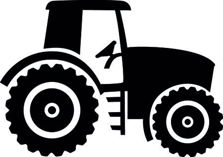 Black farmer tractor drawn illustration.