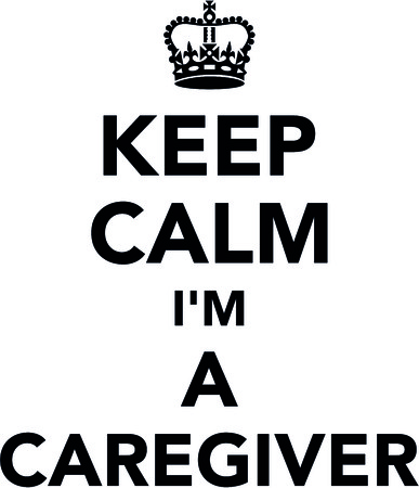 Keep calm I am a caregiver with crown illustration.