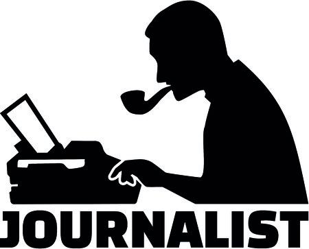 役職とタイプライターを持つ男性ジャーナリストのシルエット。