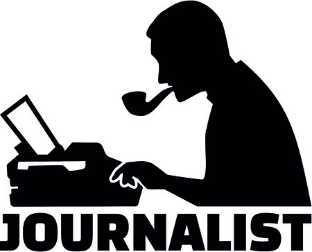 Silhouette of a male journalist with job title and typewriter.