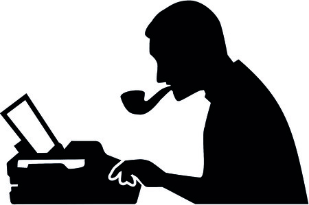 Silhouette of a male journalist with typewriter illustration.