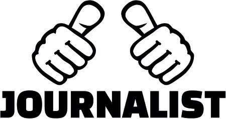 ジャーナリストの肩書きイラストを持つ親指。  イラスト・ベクター素材
