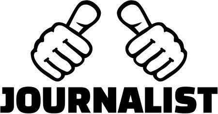 Thumbs with journalist job title illustration. Illustration