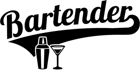 Bartender word retro style with shaker and glass illustration. Stock Illustratie