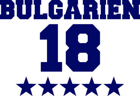 German word for Bulgaria with number 18 and blue stars.