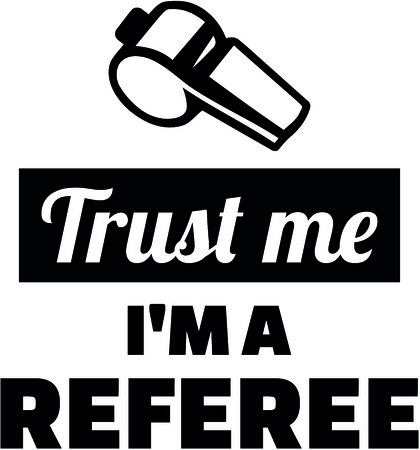Trust me I am a referee with whistle illustration.