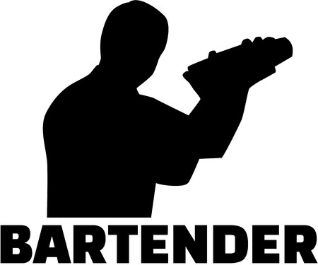 Bartender silhouette with job title illustration.