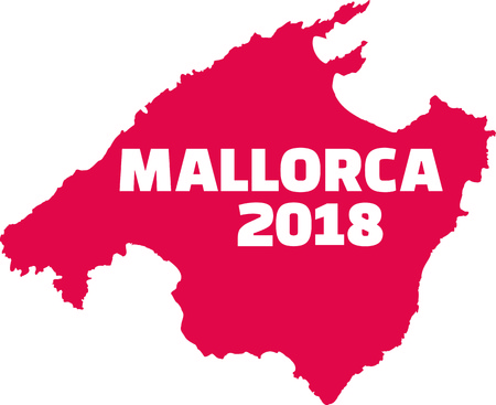 Mallorca 2018 country frontier in red illustration.