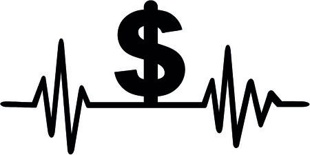 하트 비트 펄스 달러 기호 그림입니다.