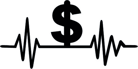 Heartbeat pulse with dollar sign illustration.